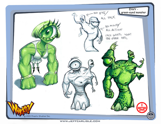 Whacked! Concept booklet - page 04 - Envy concepts -  The Green-Eyed Monster